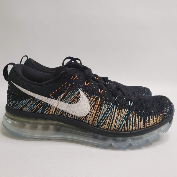 Nike Flyknit Air Max Black Multi Color Running Sho